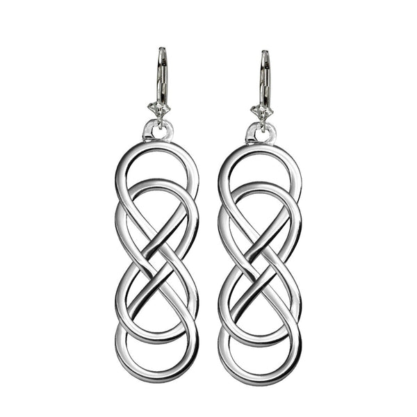 Large Double Infinity Symbol Earrings, Best Friends Forever Earrings, Sisters Earrings, 10mm x 30mm in 14K white gold