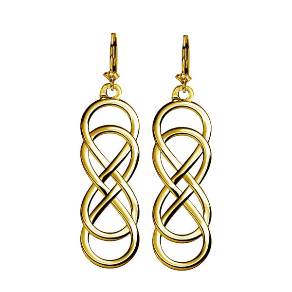 Large Double Infinity Symbol Earrings, Best Friends Forever Earrings, Sisters Earrings, 10mm x 30mm in 14K yellow gold