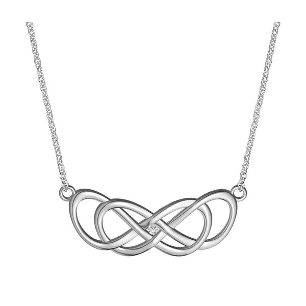 Large Curved Diamond Double Infinity Symbol Charm and Chain, .05CT, Best Friends Forever Charm, Sisters Charm, 10mm x 30mm, 18 inches total in Sterling Silver