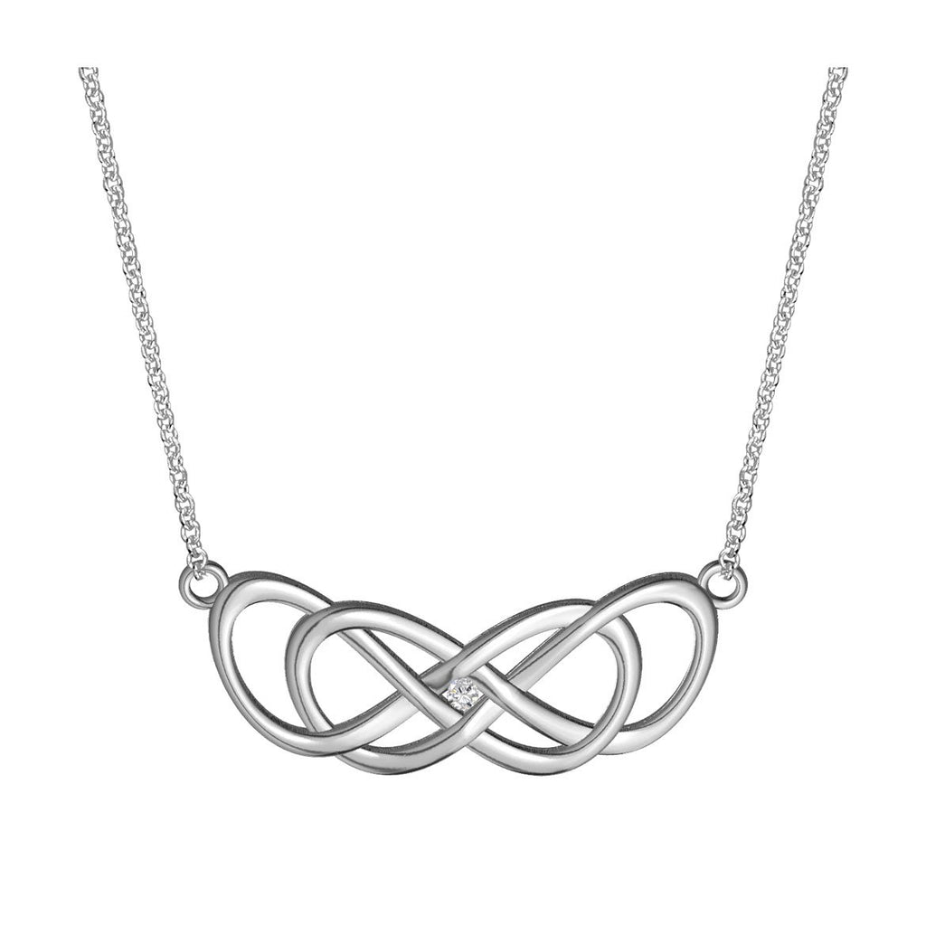 Large Curved Diamond Double Infinity Symbol Charm And Chain 05ct