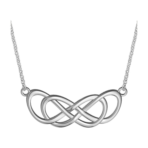 Extra Large Curved Double Infinity Symbol Charm and Chain, Lovers Charm, Eternal and Infinite Love Charm, 1.5 inches, 18 inches total in Sterling Silver