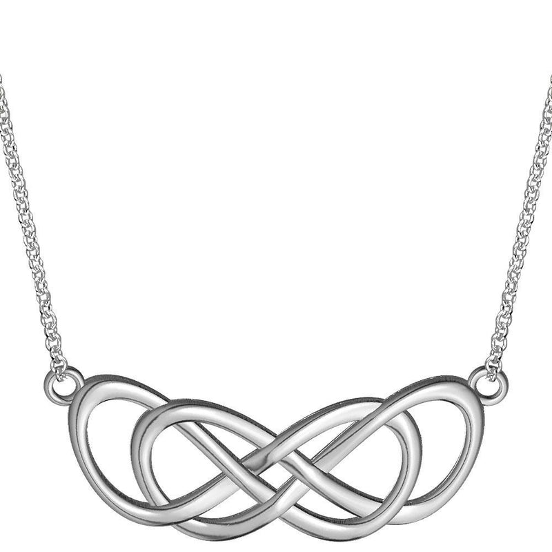 Extra Large Curved Double Infinity Horizontal Necklace in Sterling Silver