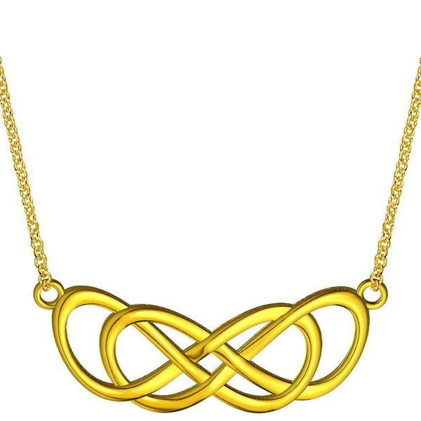 Extra Large Curved Double Infinity Horizontal Necklace in 14K Yellow Gold