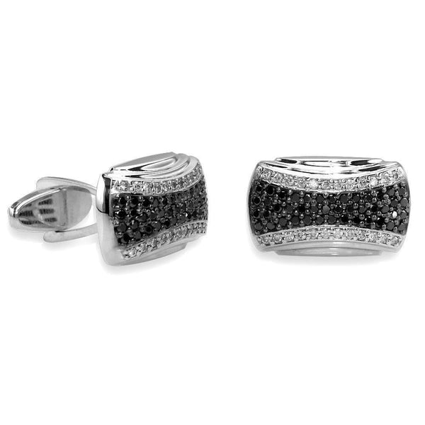 Mens Large Black and White Cubic Zirconia Cufflinks in Sterling Silver