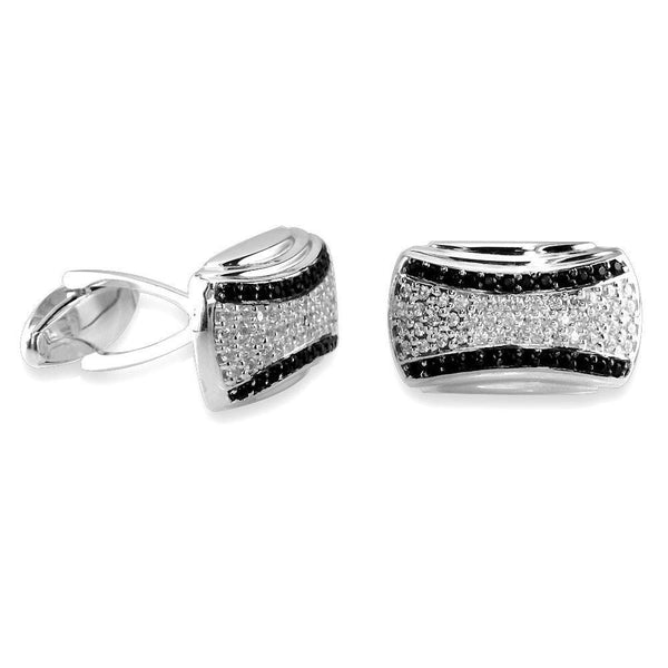 Mens Large White and Black Cubic Zirconia Cufflinks in Sterling Silver