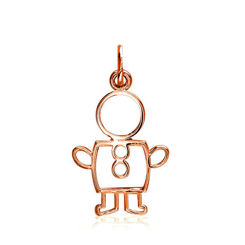 Small Cookie Cutter Boy Charm for Mom, Grandma in 18k Pink Gold