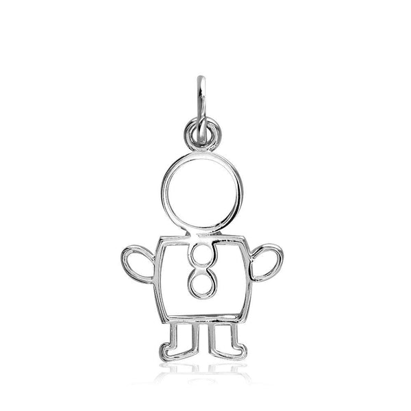 Small Cookie Cutter Boy Charm for Mom, Grandma in 18k White Gold