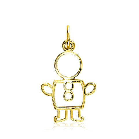 Small Cookie Cutter Boy Charm for Mom, Grandma in 14k Yellow Gold