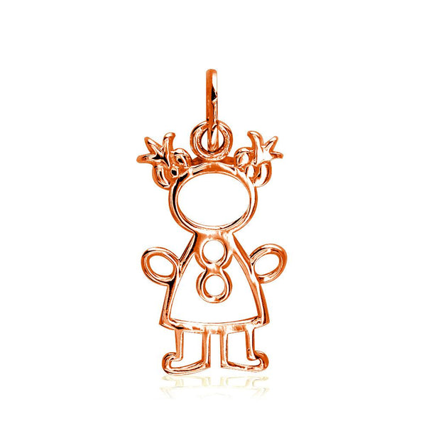Small Cookie Cutter Girl Charm for Mom, Grandma in 14k Pink Gold