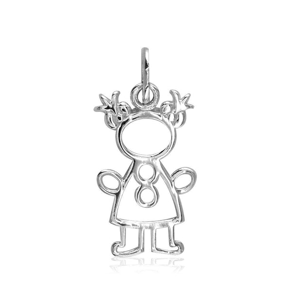 Small Cookie Cutter Girl Charm for Mom, Grandma in 14k White Gold