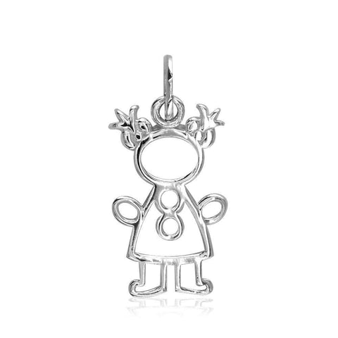 Small Cookie Cutter Girl Charm in Sterling Silver