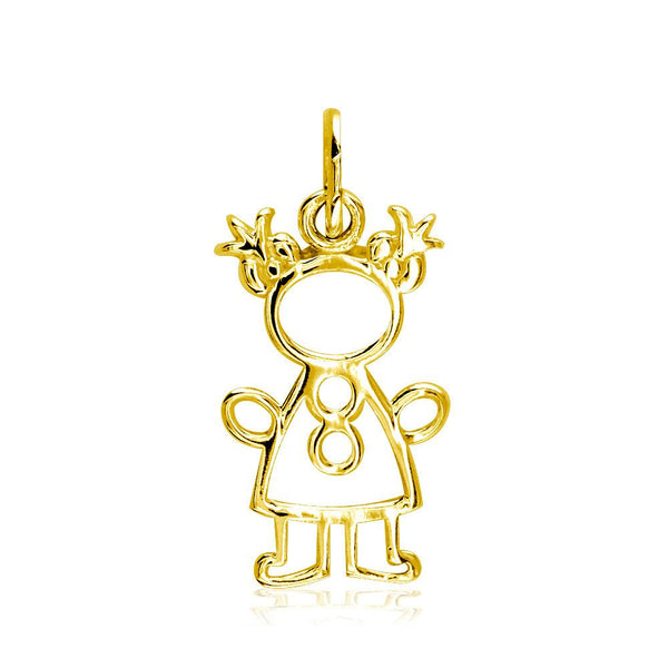 Small Cookie Cutter Girl Charm for Mom, Grandma in 18k Yellow Gold