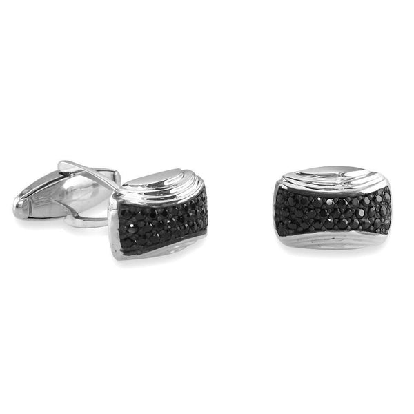 Mens Black Cubic Zirconia Cufflinks in Sterling Silver