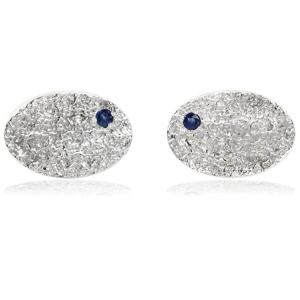Mens Large Hammered Oval Cufflinks with Blue Sapphires in Sterling Silver
