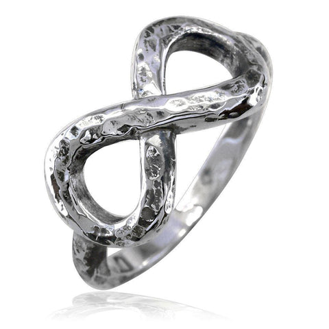 Hammered Infinity Ring in Sterling Silver