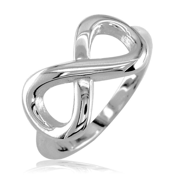 Wide Flowing Infinity Ring in Sterling Silver