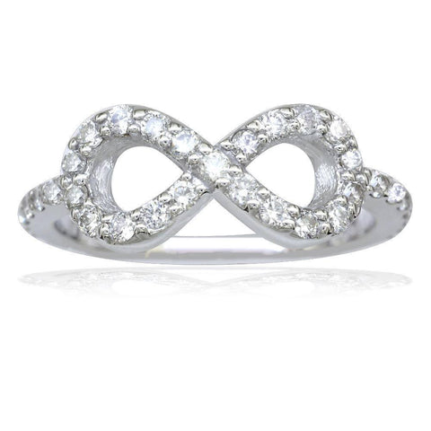 Flowing Diamond Infinity Ring in 14K White Gold