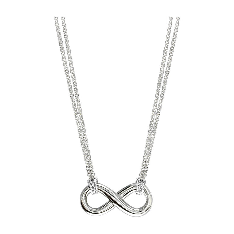 "16"" Total Length Small Flowing Infinity Charm with Two Knotted Chains in Sterling Silver"