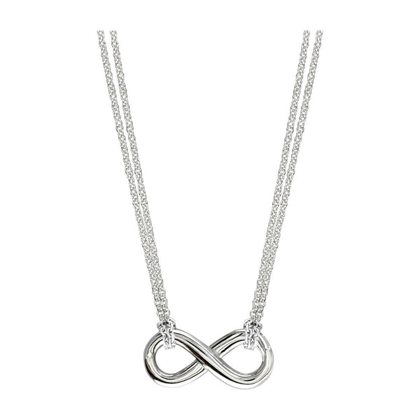 Small Flowing Infinity Charm and Chain with 2 Knots,16 Inches Total #4863H in 14K white gold