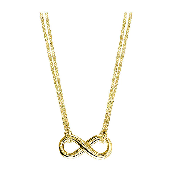Small Flowing Infinity Charm and Chain with 2 Knots,16 Inches Total #4863H in 14K yellow gold