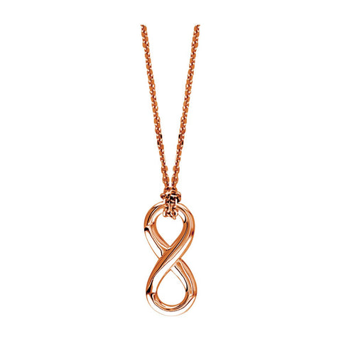 "17"" Total Length Small Flowing Infinity Charm with Knotted Chain in 14K Pink Gold"