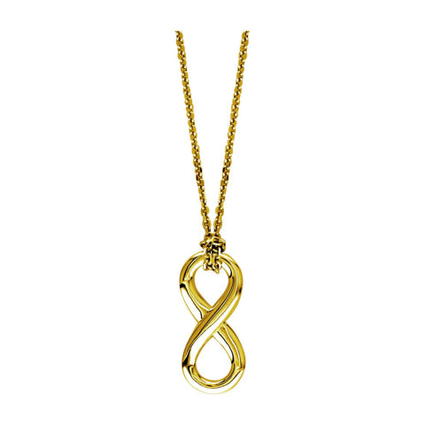 "17"" Total Length Small Flowing Infinity Charm with Knotted Chain in 14K Yellow Gold"