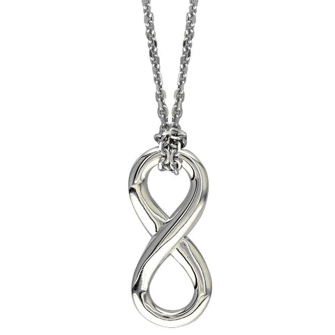 "17"" Total Length Medium Flowing Infinity Charm with Knotted Chain in Sterling Silver"