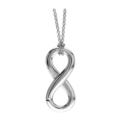 "17"" Total Length Large Flowing Infinity Charm with Knotted Chain in Sterling Silver"