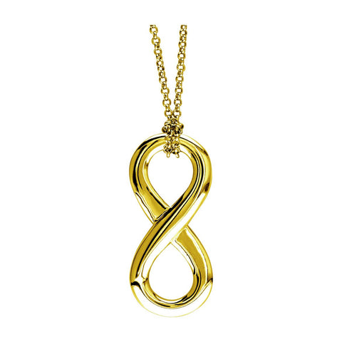 Large Flowing Infinity Charm and Knotted Chain,17 Inches Total #4865 in 14K yellow gold