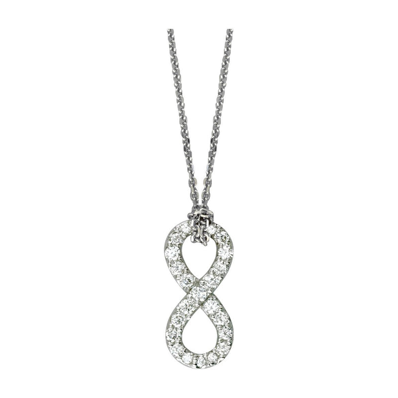 "17"" Total Length Small Flowing Infinity Charm with Knotted Chain in Sterling Silver and Cubic Zirconias"