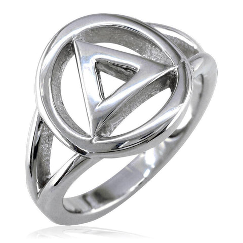 Alcoholics Anonymous AA Sobriety Ring in Sterling Silver