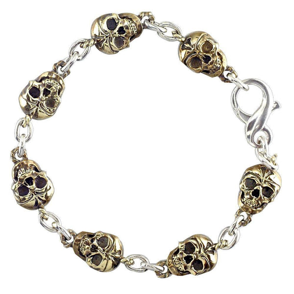 Mens Skull Link Bronze and Sterling Silver Bracelet with Black, 8.5 Inches