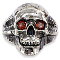 Large Skull Ring with Garnet Eyes and Black Finish, 1 Inch, Sterling Silver
