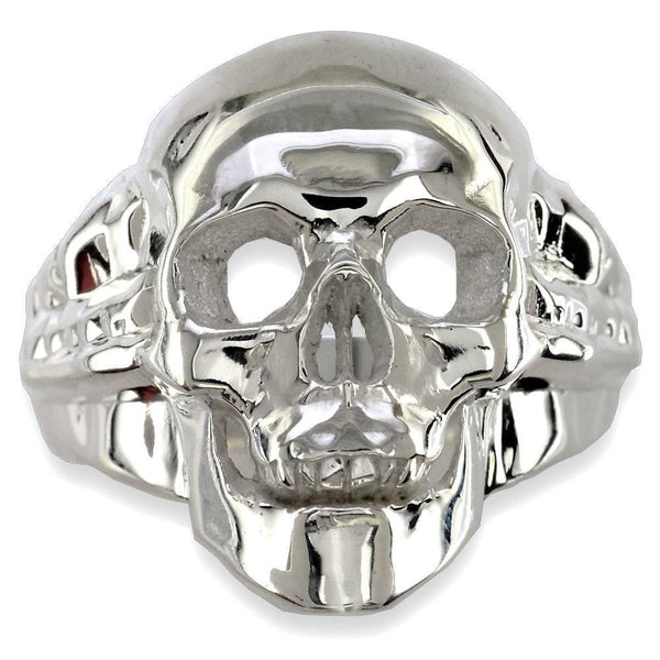 Large Skull Ring High Polished, 1 Inch, Sterling Silver