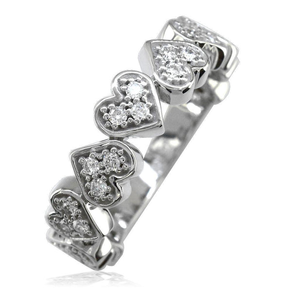 Diamond Hearts Band in 14K Gold, 9 Hearts, 0.27CT
