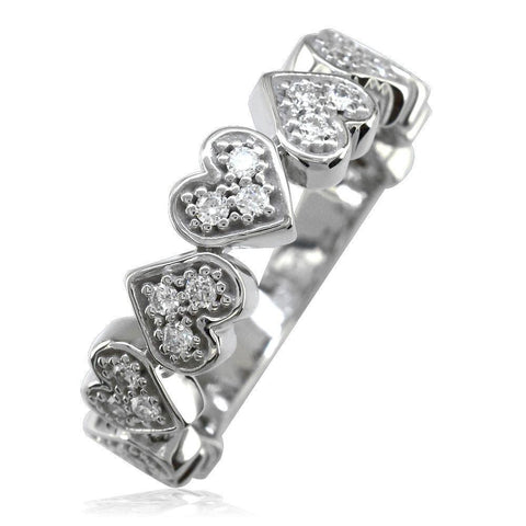 Cubic Zirconia Hearts Band in Sterling Silver, 9 Hearts, 0.27CT