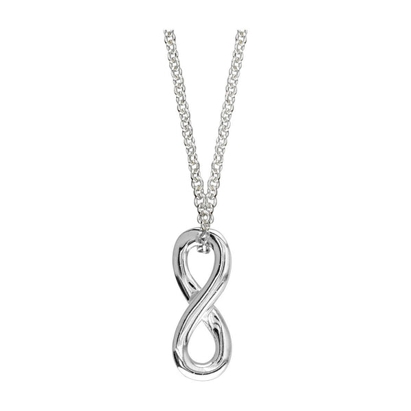 Small Sliding Infinity Charm and Chain,18 Inches Total #4892 in 14K white gold