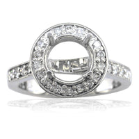 Diamond Halo Engagement Ring Setting, 0.50CT in 14k White Gold