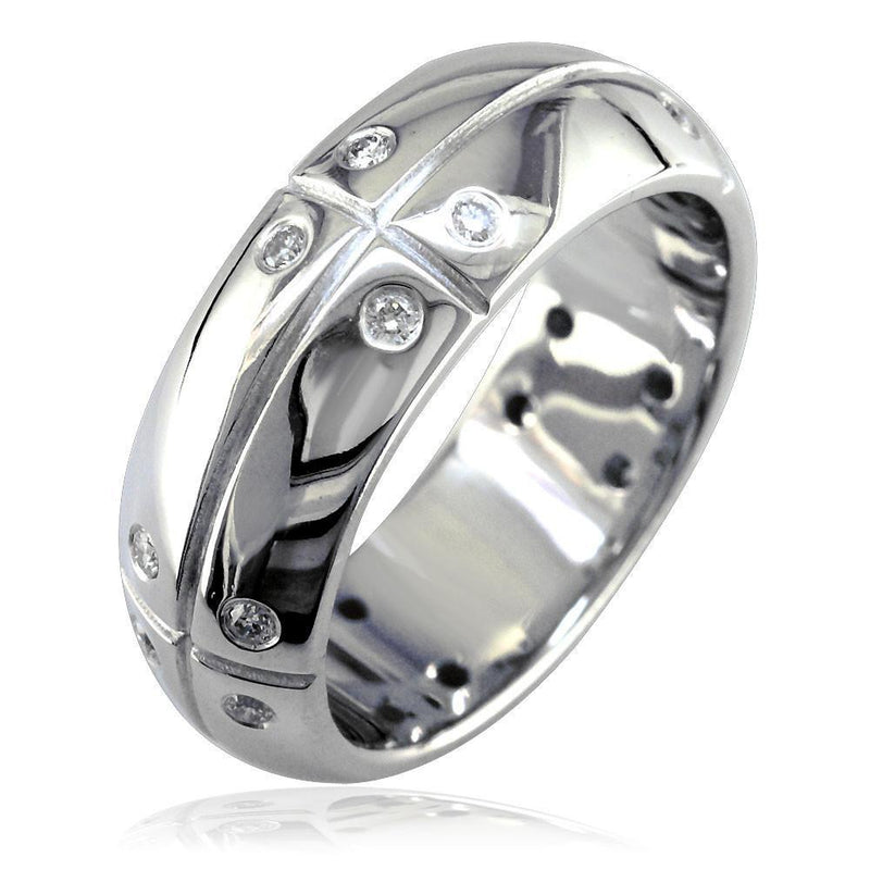 Mens Domed Wedding Band with Lines and Diamonds, 0.40CT in 14K White Gold