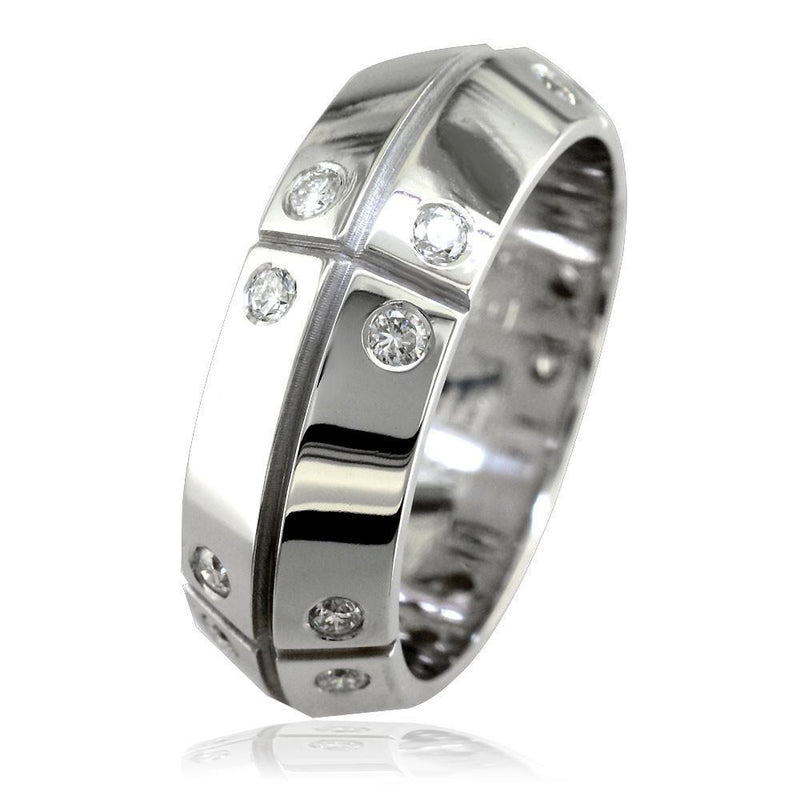 Mens Slanted Top Wedding Band with Lines and Diamonds, 0.75CT in 14K White Gold