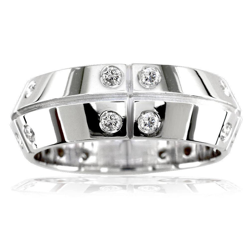 Mens Slanted Top Wedding Band with Lines and Cubic Zirconias, 0.75CT in Sterling Silver