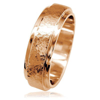 Mens Hammered Flat Edge Wedding Band in 14k Pink Gold