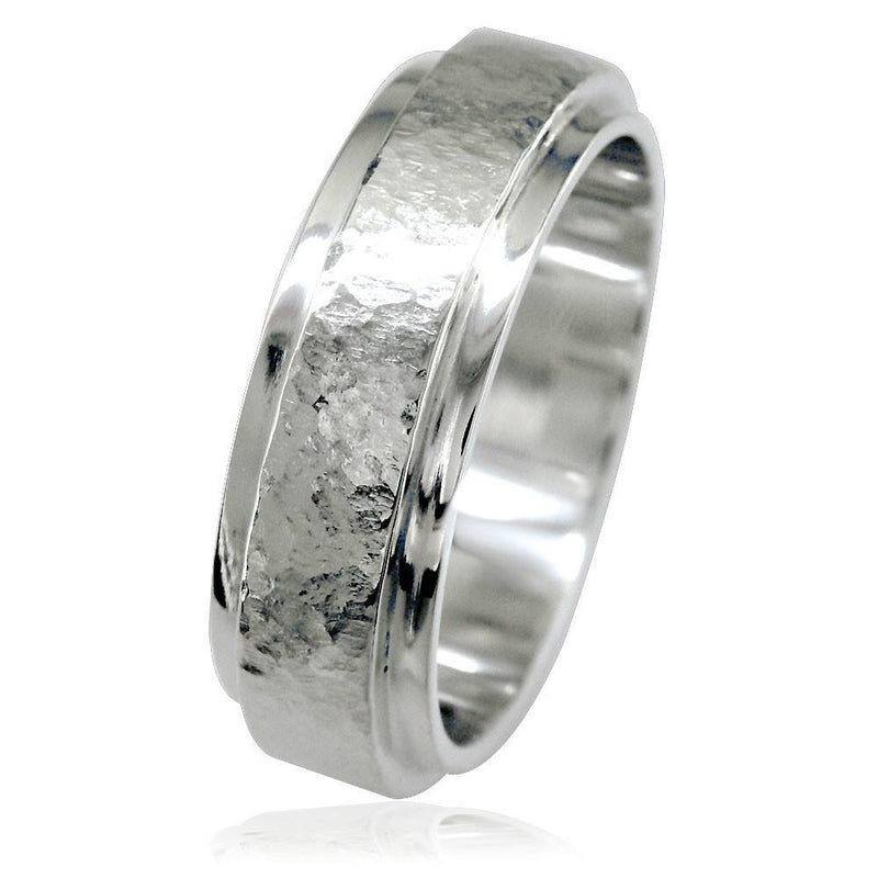 Mens Hammered Flat Edge Wedding Band in 14k White Gold