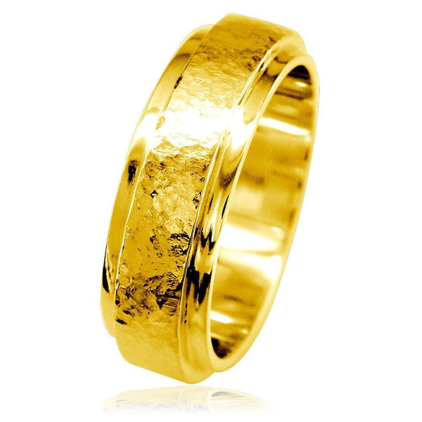 Mens Hammered Flat Edge Wedding Band in 14k Yellow Gold
