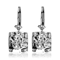 Dangling Hammered Square Earrings in 14K White Gold