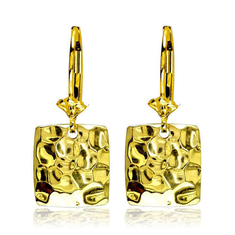 Dangling Hammered Square Earrings in 14K Yellow Gold