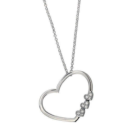 Open Heart and 3 Small Hearts Necklace in Sterling Silver and Cubic Zirconias