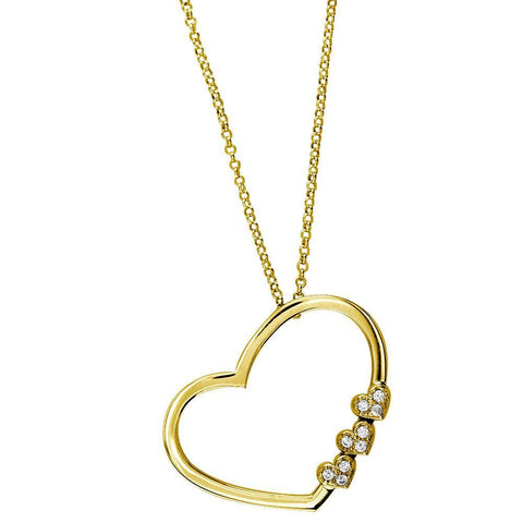 Open Heart and 3 Small Diamond Hearts Necklace, 0.35CT in 14K Yellow Gold