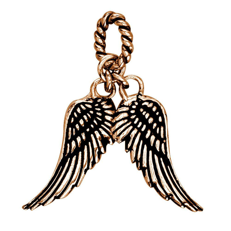 Wings Charm with Black in 14k Pink Gold, 21mm