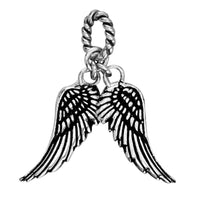 Wings Charm with Black in 14k White Gold, 21mm